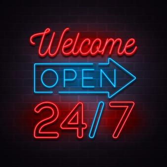Neon 24 uur per dag geopend teken