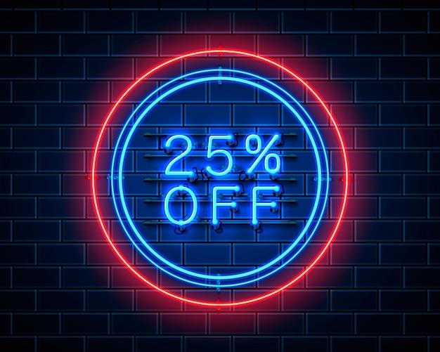 Neon 25 korting op tekstbanner. nacht teken. vector illustratie