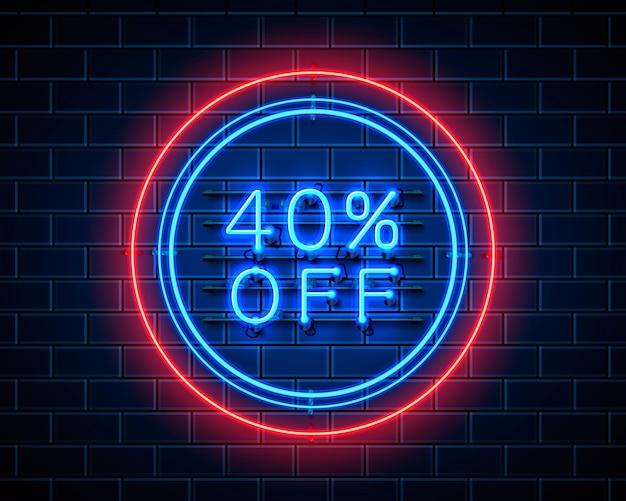 Neon 40 korting op tekstbanner. nacht teken. vector illustratie