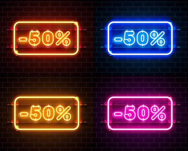 Neon 50 korting op tekstbanner kleurenset. nacht teken. vector illustratie