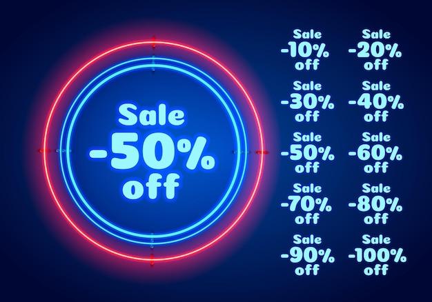Neon 50 verkoop tekstbanner. nacht teken. vector illustratie
