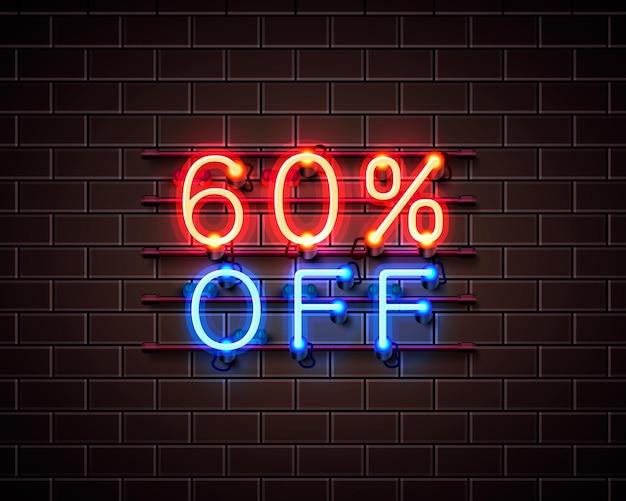 Neon 60 korting op tekstbanner. nacht teken. vector illustratie