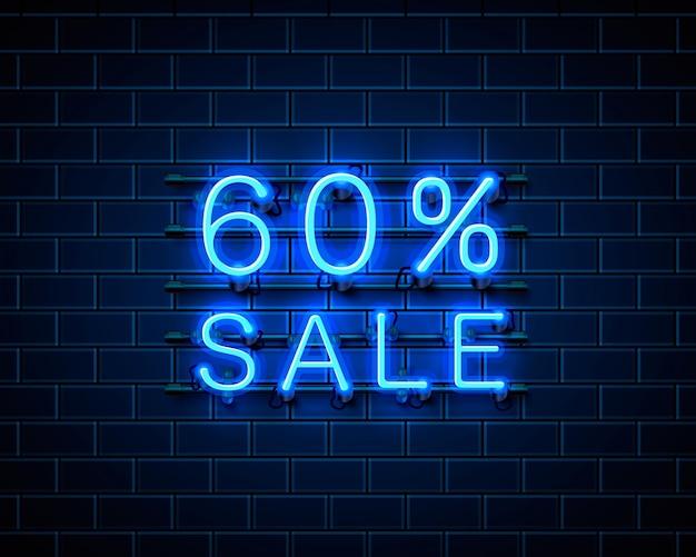 Neon 60 verkoop tekstbanner. nacht teken. vector illustratie