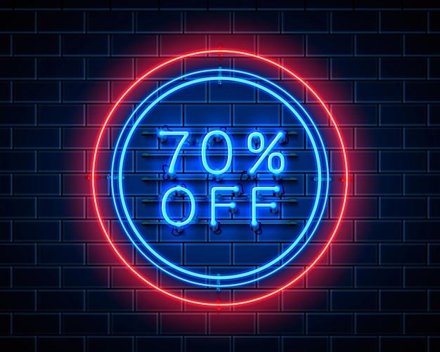 Neon 70 korting op tekstbanner. nacht teken. vector illustratie