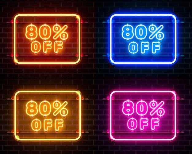 Neon 80 korting op tekstbanner kleurenset. nacht teken. vector illustratie