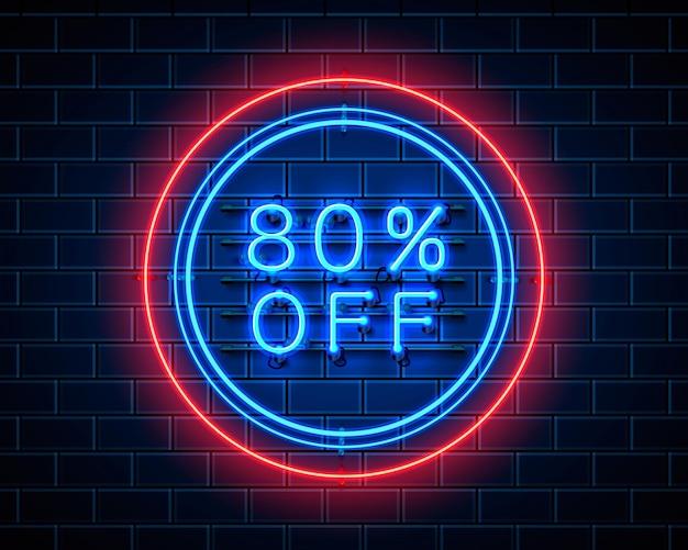 Neon 80 korting op tekstbanner. nacht teken. vector illustratie
