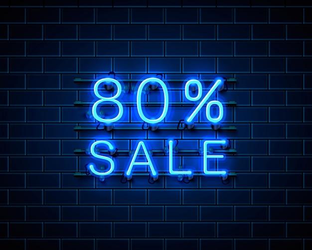Neon 80 verkoop tekstbanner. nacht teken. vector illustratie