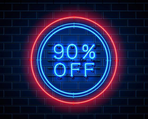 Neon 90 korting op tekstbanner. nacht teken. vector illustratie