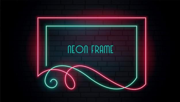 Neon aantrekkelijk kader in bloemenwervelingsstijl