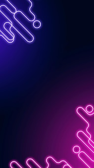 Neon abstracte rand op een donkerpaarse sociale verhaalsjabloonvector