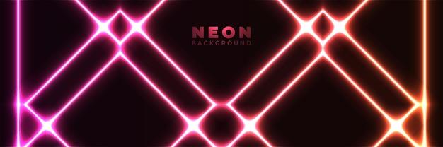 Neon achtergrond abstracte gloeiende banner met blauwe paarse neon pijlen