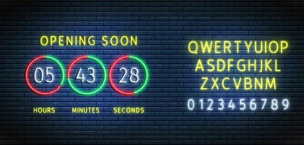 Neon afteltimer. klokteller met lettertype. binnenkort geopend bord. . verlichte aftellen