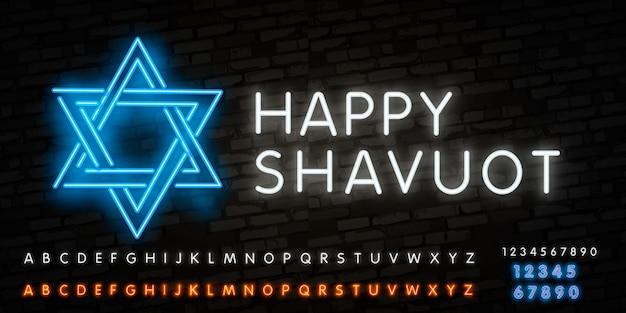 Neon alfabet lettertype en neon teken van sjavoeot joodse feestdag