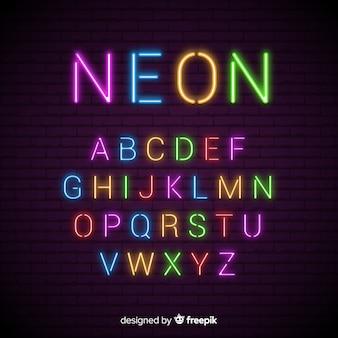 Neon alfabet sjabloon plat ontwerp