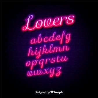 Neon alfabet sjabloon