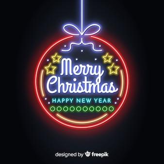 Neon bal kerst achtergrond