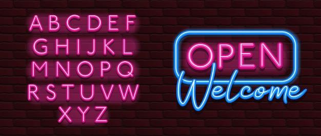 Neon banner alfabet lettertype bakstenen muur open welkom