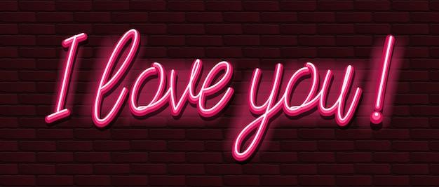 Neon banner lettertype bakstenen muur ik hou van je