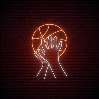 Neon basketbal teken.