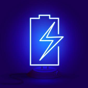 Neon batterij met ritssluiting op de stand gloeit in het donker.