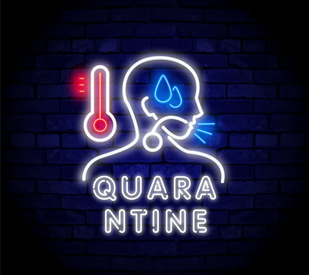 Neon belettering quarantaine. ziek man neon teken.