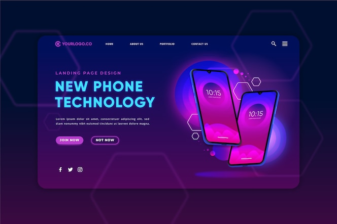 Neon-bestemmingspagina met smartphone