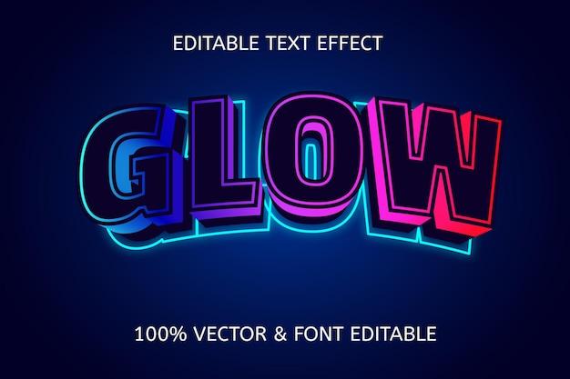 Neon bewerkbaar teksteffect in gloedstijl