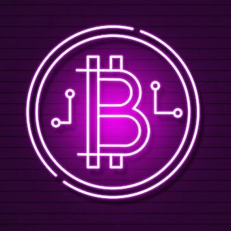 Neon bitcoin-symbool geïsoleerd op zwart background.light-effect. digitaal geld, mijnbouwtechnologieconcept. vectorpictogram.
