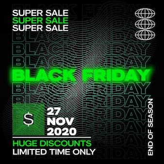 Neon black friday typografie banner, poster of flayer-sjabloon. abstracte fluorescerende decoratieve elementen. verkooppromotie of reclame lichtgevende lay-out.