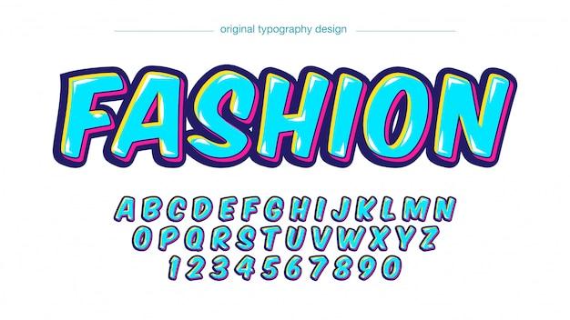 Neon blauw kleurrijk cartoon teksteffect