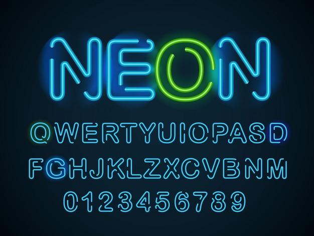 Neon blauw lettertype. engelse alfabet en cijfers instellen.