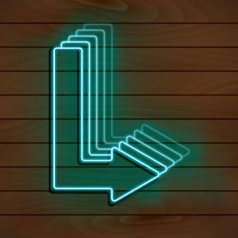Neon blauwe pijl op een houten muur.