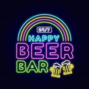 Neon blij bierbar teken