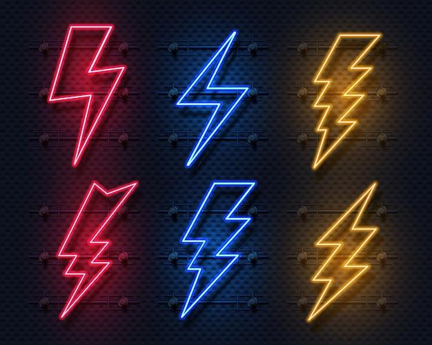 Neon bliksemschicht. gloeiende elektrische flitser teken, blikseminslag elektriciteit pictogrammen.