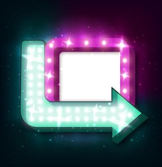 Neon bord met pijl en gloeiende lichten