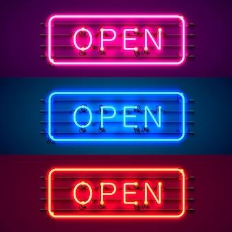 Neon bord met tekst open, ingang is beschikbaar kleurenset. vector illustratie