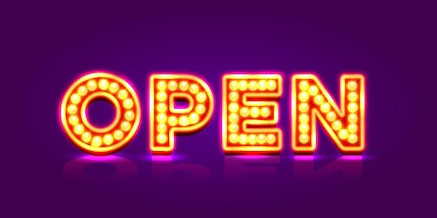 Neon bord met tekst open, ingang is beschikbaar. vector illustratie