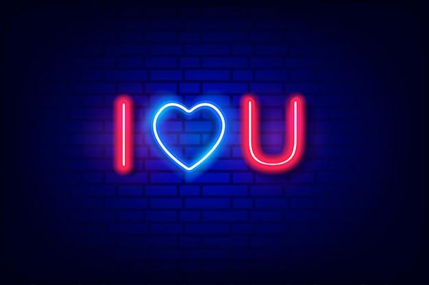 Neon bord. valentijnsdag. gloeiende tekst.