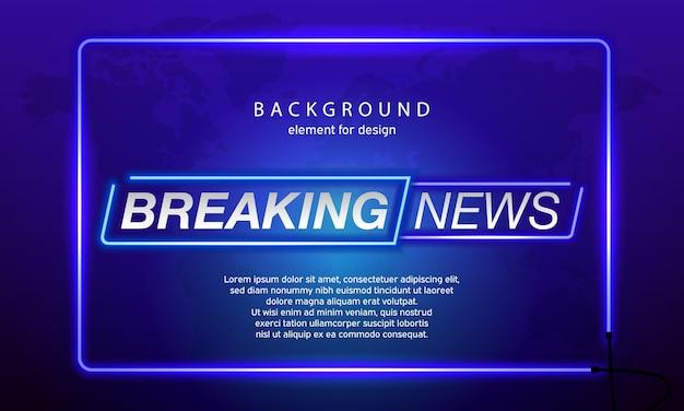 Neon breaking news op de achtergrond van de wereldkaart