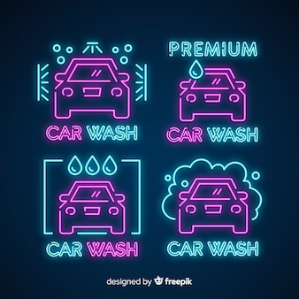 Neon car wash tekenpakket
