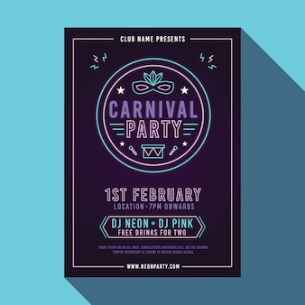 Neon carnaval partij poster