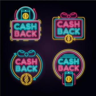 Neon cashback-tekencollectie