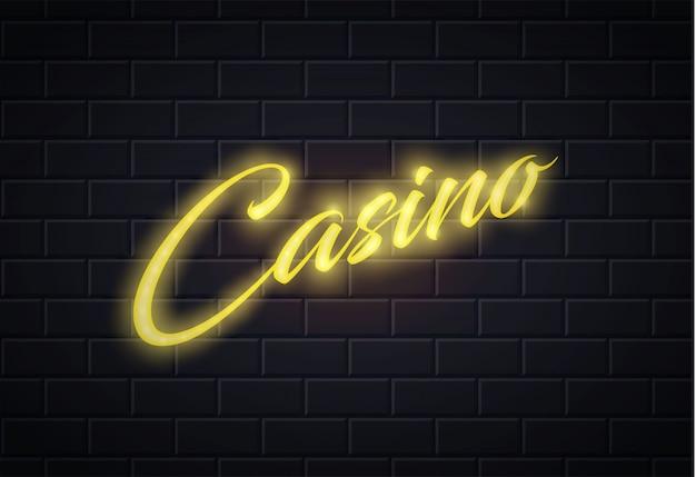 Neon casino pokerkaart teken bakstenen muur