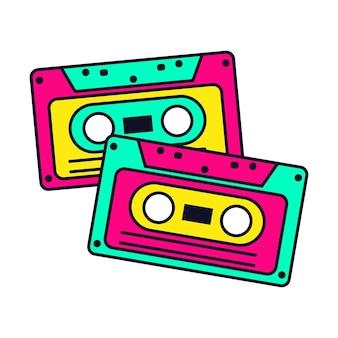 Neon cassettebandjes vector illustratie