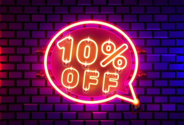 Neon chatframe 10 uit tekstbanner. nacht bord.