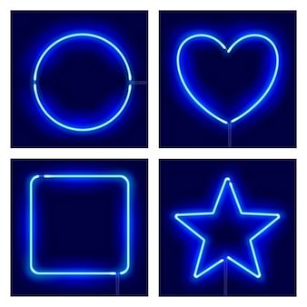 Neon cirkel, hart, vierkant en ster op donkere achtergrond.