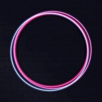 Neon cirkelframe op donkere achtergrond Gratis Vector