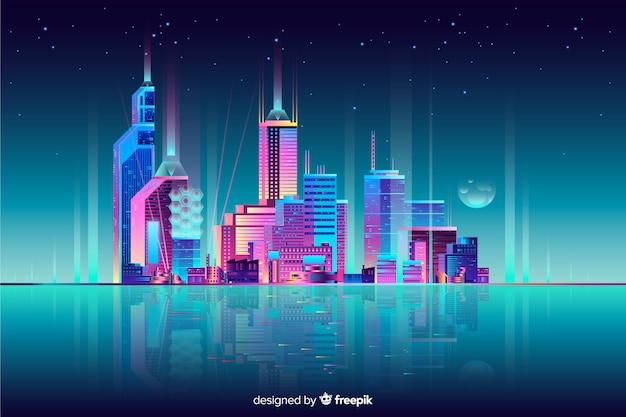 Neon cityscape achtergrond