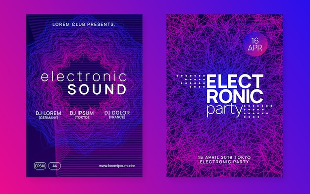 Neon club flyer. electro dance muziek poster
