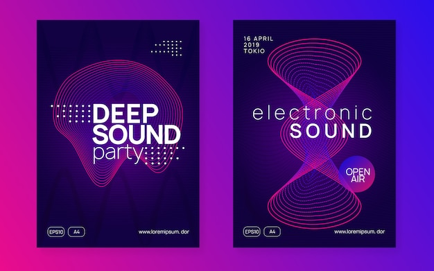 Neon club flyer. electro dansmuziek. trance feest dj. elektronisch klankfeest. techno evenement poster.